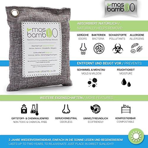 Lufterfrischer »cleanAir 250g« aus Bambus Aktivkohle | Natürlicher Geruchsentferner, Raumerfrischer & Luftentfeuchter | Geruchsneutralisierer & Luftreiniger Beutel für Auto, Küche, Bad, Schlafzimmer, Kleider-Schrank, Kühlschrank | Gegen Geruch ohne Duftstoffe oder Chemie | Biologischer Geruchskiller | Alternative zu Raumduft, Granulat- oder Ozon-Reiniger gegen Schimmel-Sporen, Pilze, Bakterien & Formaldehyd - 3