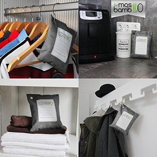 Lufterfrischer »cleanAir 250g« aus Bambus Aktivkohle | Natürlicher Geruchsentferner, Raumerfrischer & Luftentfeuchter | Geruchsneutralisierer & Luftreiniger Beutel für Auto, Küche, Bad, Schlafzimmer, Kleider-Schrank, Kühlschrank | Gegen Geruch ohne Duftstoffe oder Chemie | Biologischer Geruchskiller | Alternative zu Raumduft, Granulat- oder Ozon-Reiniger gegen Schimmel-Sporen, Pilze, Bakterien & Formaldehyd - 4