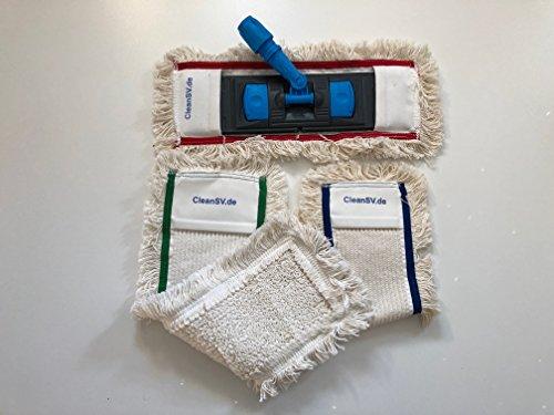 CleanSV® Wischset 50 cm – Putzwagen Chrom / Reinigungswagen mit Presse, Mop Set: bestehend aus 3 Baumwollmop / Wischmop 50 cm , einem 50 cm Klapphalter mit Profi Telekopstiehl - 4